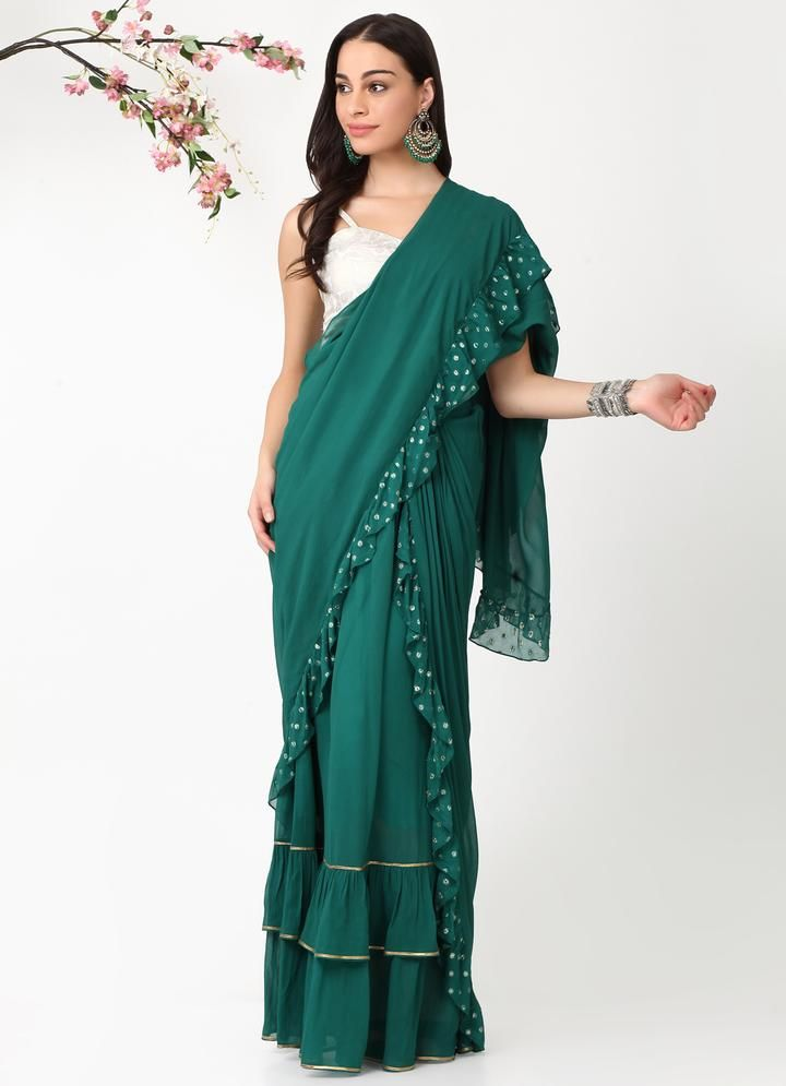 alaya-by-stage3-green-ruffled-saree-shilpa-shetty-ruffled-mermaid-saree
