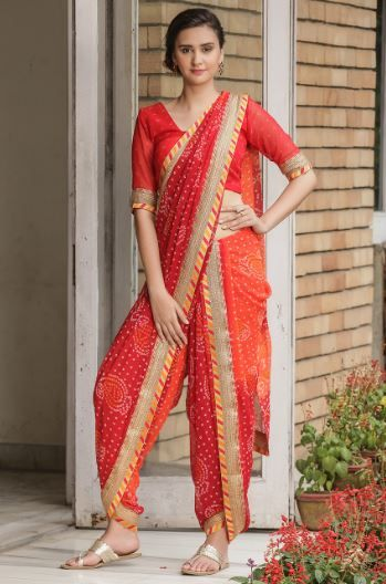13-sarees-for-farewell-Uber-Trendy-Red-Bandhej-Saree