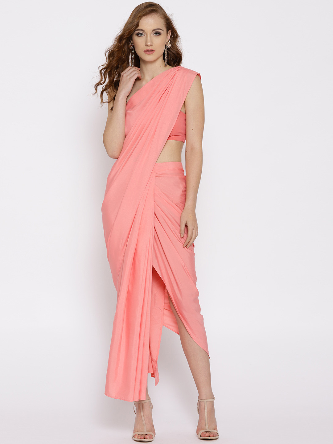 17-sarees-for-farewell-Pink-Solid-Ready-to-wear-Saree