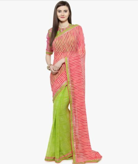 2-sarees-for-farewell-Pink-Striped-Saree