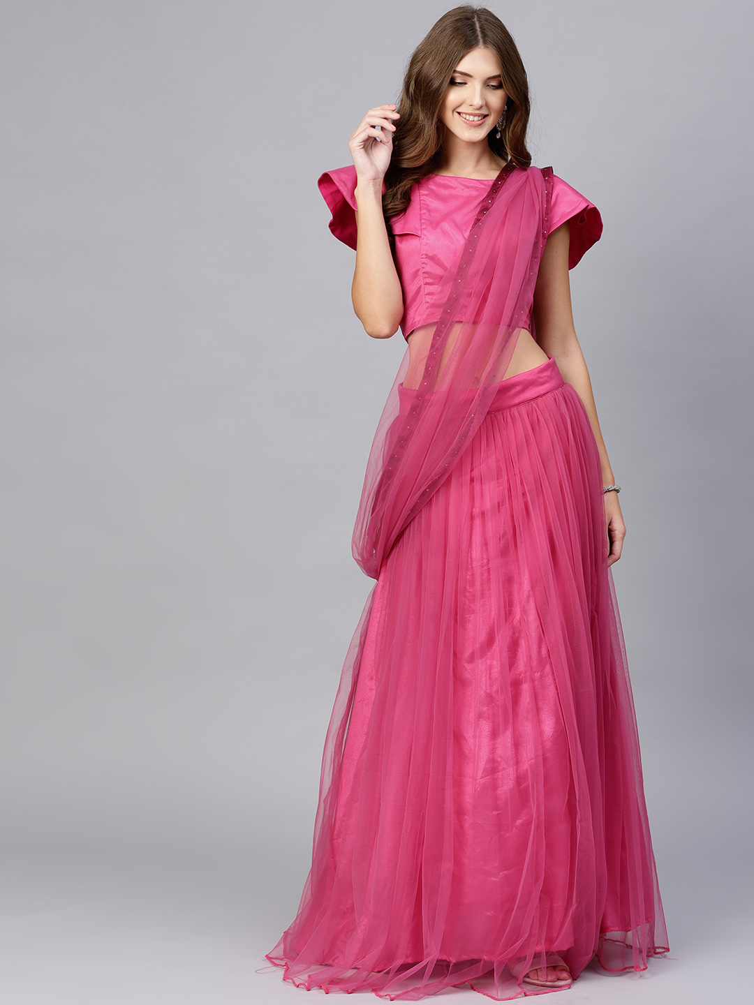 27-sarees-for-farewell-Pink-Solid-Net-Lehenga-Saree