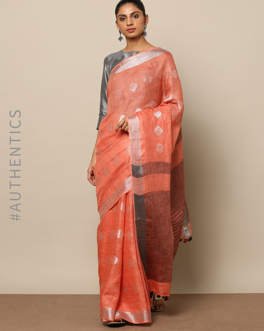 29-sarees-for-farewell-Handloom-Pure-Linen-Jacquard-Saree-with-Zari