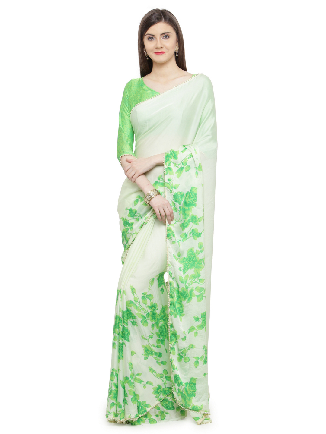 3-sarees-for-farewell-Green-Embellished-Satin-Saree