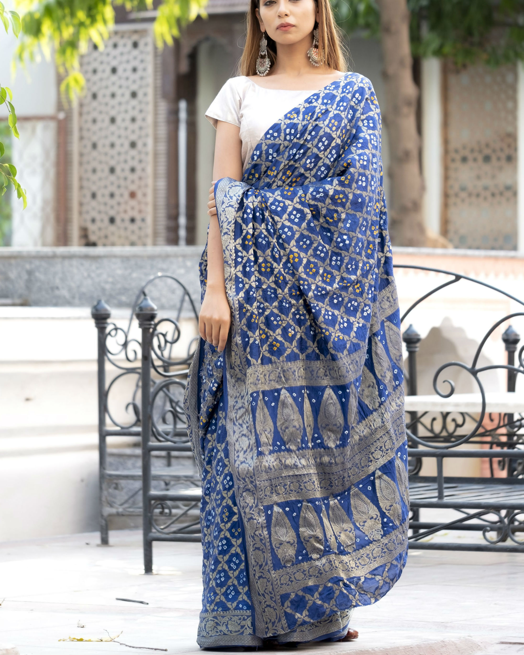 30-sarees-for-farewell-Navy-Blue-Art-Silk-Sari-With-Silver-Blouse