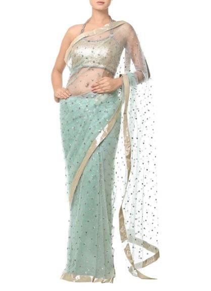 33-sarees-for-farewell-Powder-Blue-Sari-with-Floral-Sequin-Embellishments