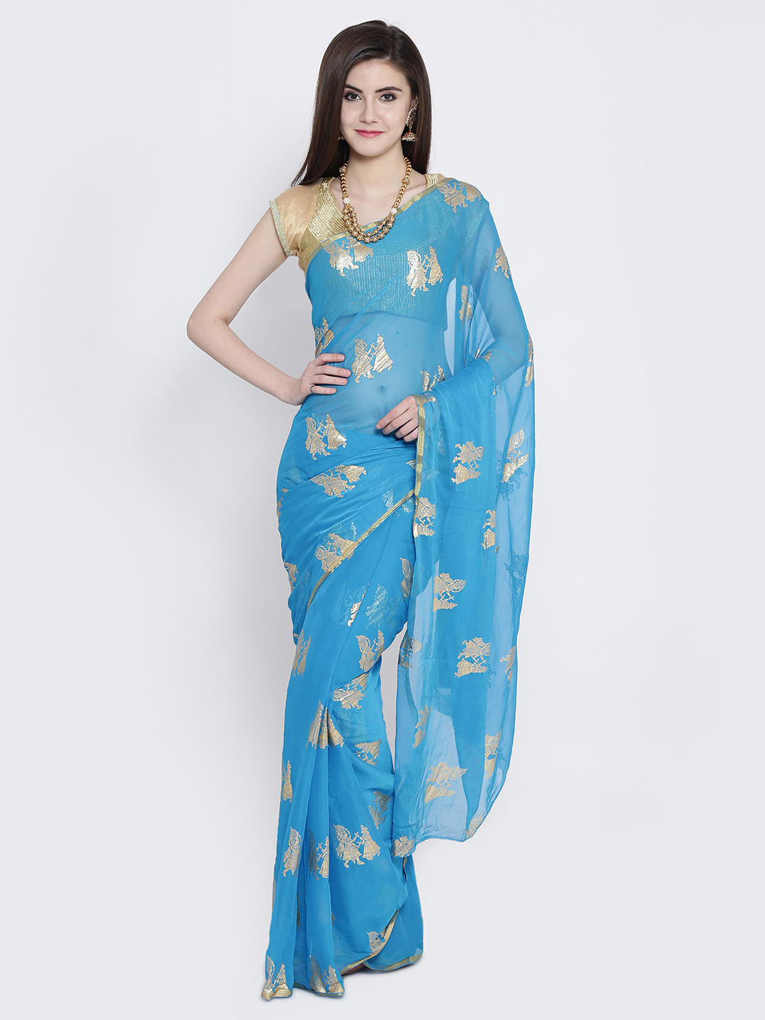 5-sarees-for-farewell-Blue-Printed-Poly-Georgette-Saree