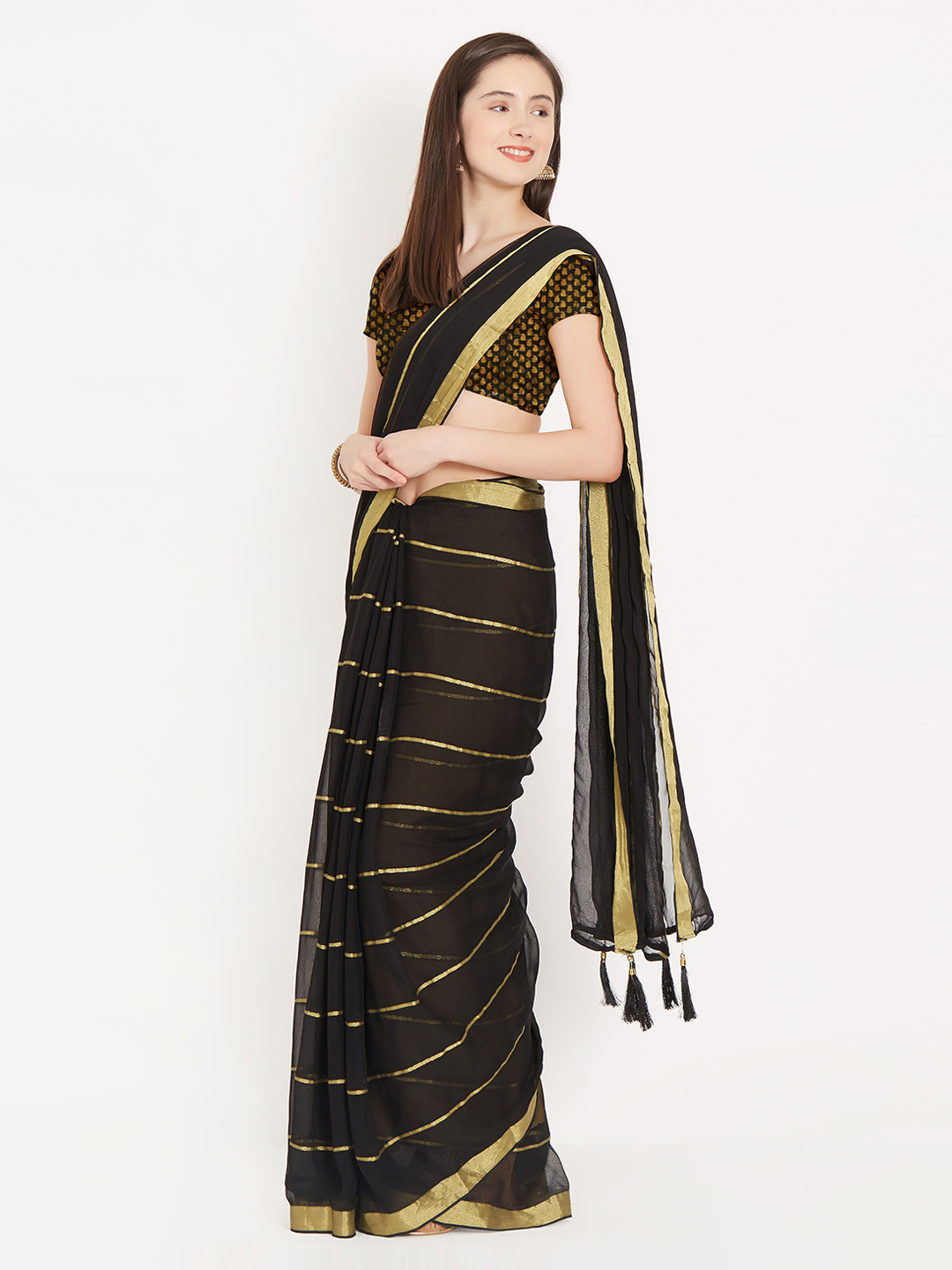 8-sarees-for-farewell-Black-Gold-Toned-Striped-Saree