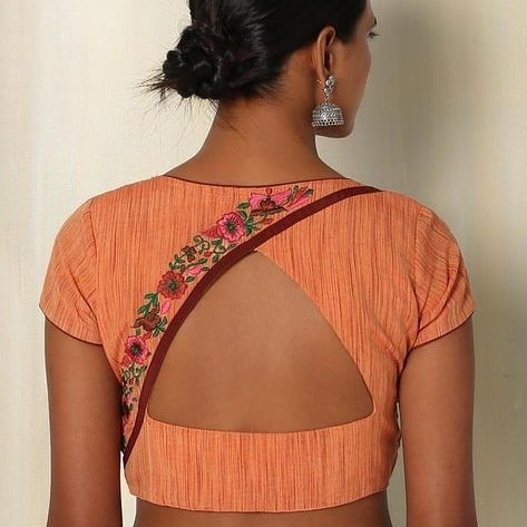 overlap blouse back design