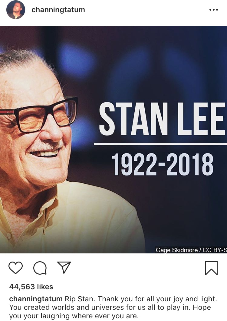 creater of the marvel universe  stan lee dies at 95-channingtatum
