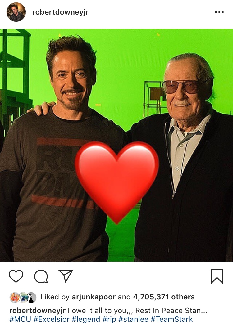 creater of the marvel universe  stan lee dies at 95-robertdowneyjr