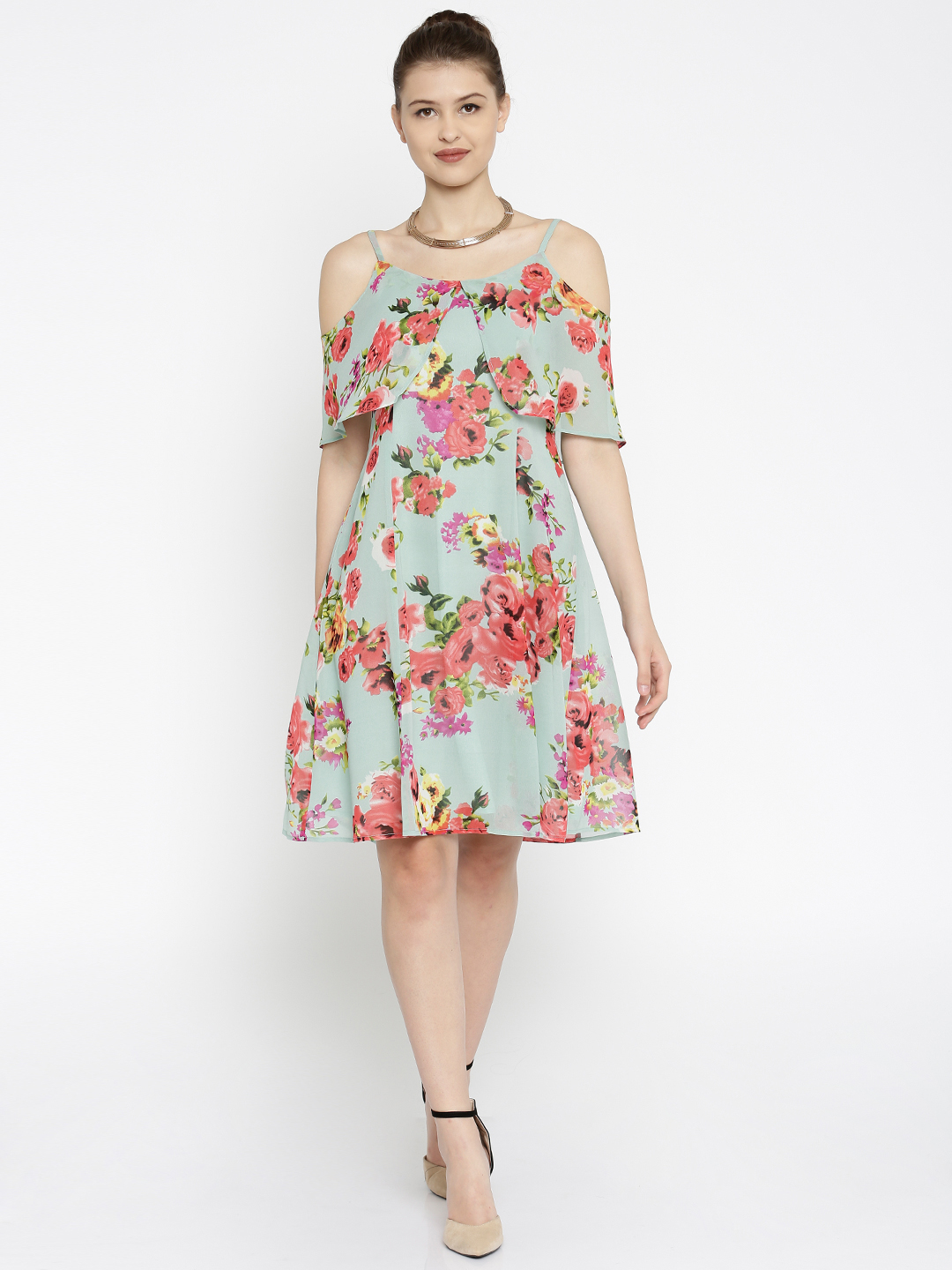 3-honeymoon-dresses-Green-Printed-Fit-and-Flare-Dress