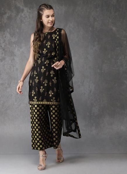 anouk-black-suit-with-sharara-what-to-wear-for-first-lohri-after-wedding