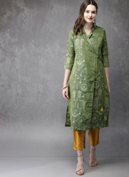 anouk-green-and-gold-suit-with-pants-what-to-wear-for-first-lohri-after-wedding