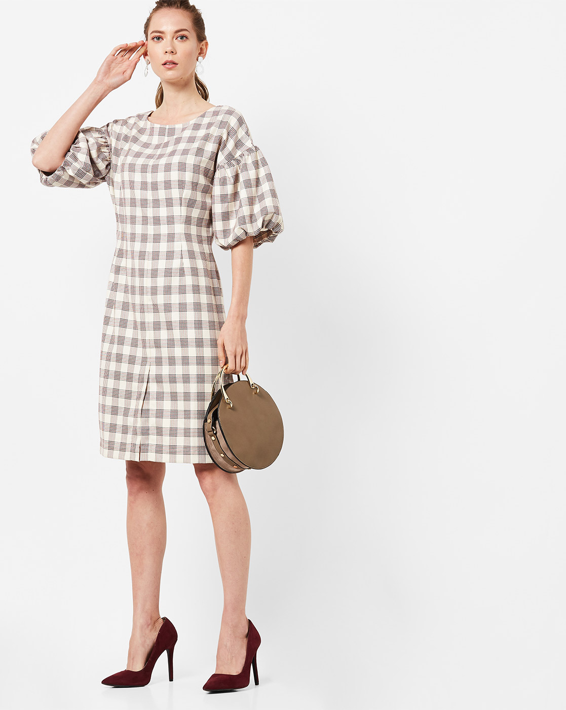 41-stylish-dresses-Checked-Shift-Dress-with-Balloon-Sleeves