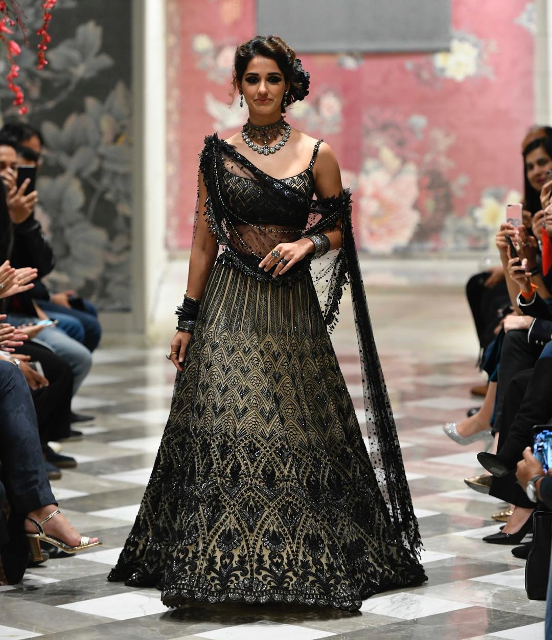 best-lehengas-2018-disha-patani-black-beige