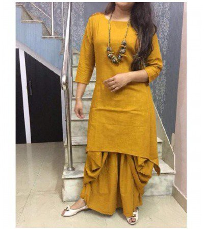 Cotton-Mustard-Plain-Stitched-Dhoti-Style-suit marathi