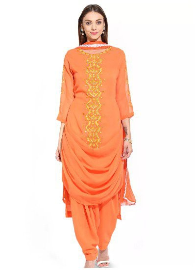 Embroidered-Asymmetric-Georgette-Punjabi Suit marathi