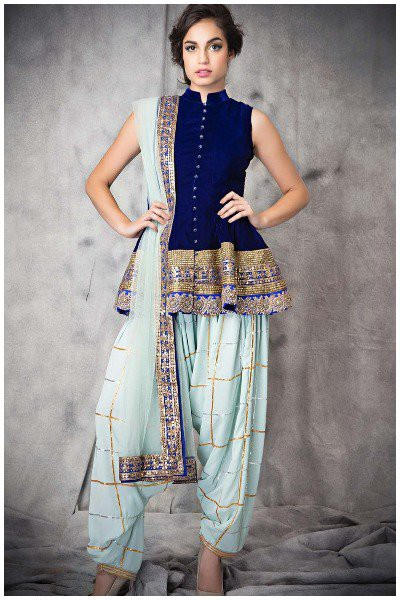 Navy-royal-blue-georgette-short-anarkali-punjabi-suit marathi