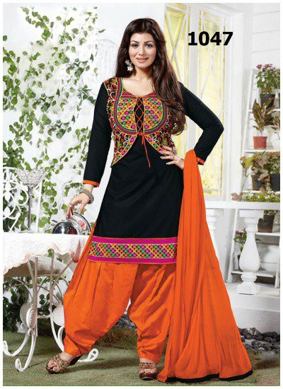black-and-orange-cotton-jacket-style-punjabi-suit marathi