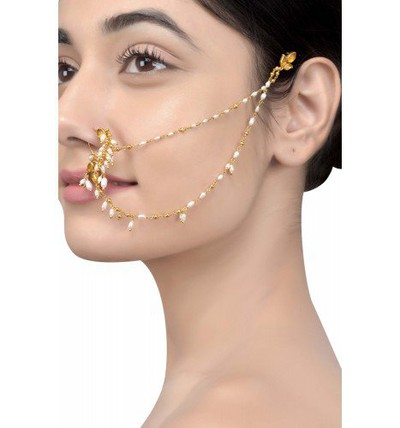 39-Jewellery-design-Silver-Floral-Pearl-Drop-Nose-Pin