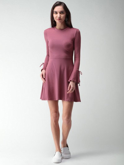 12-honeymoon-dresses-Mauve-Solid-Fit-and-Flare-Dress for marathi