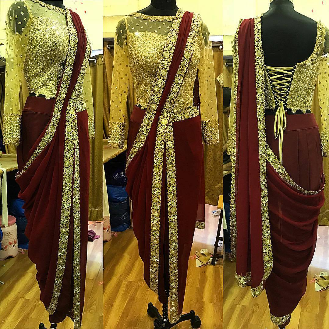 fusion saree gown