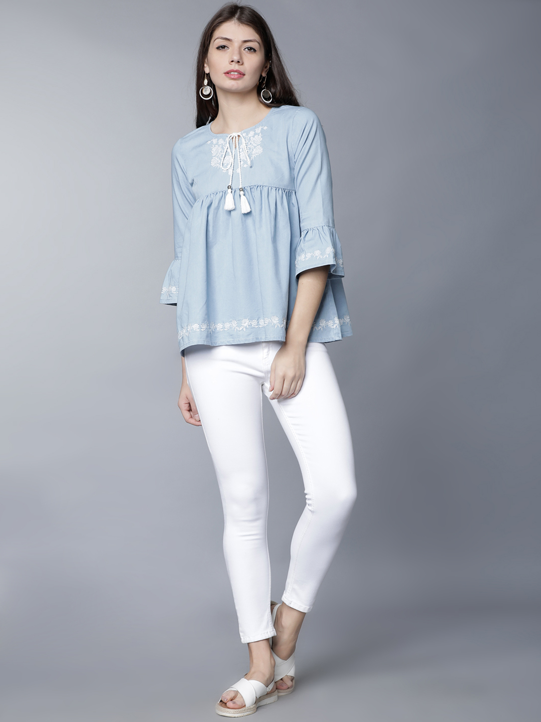 1-types-of-tops-Women-Blue-Embroidered-A-Line-Empire-Top
