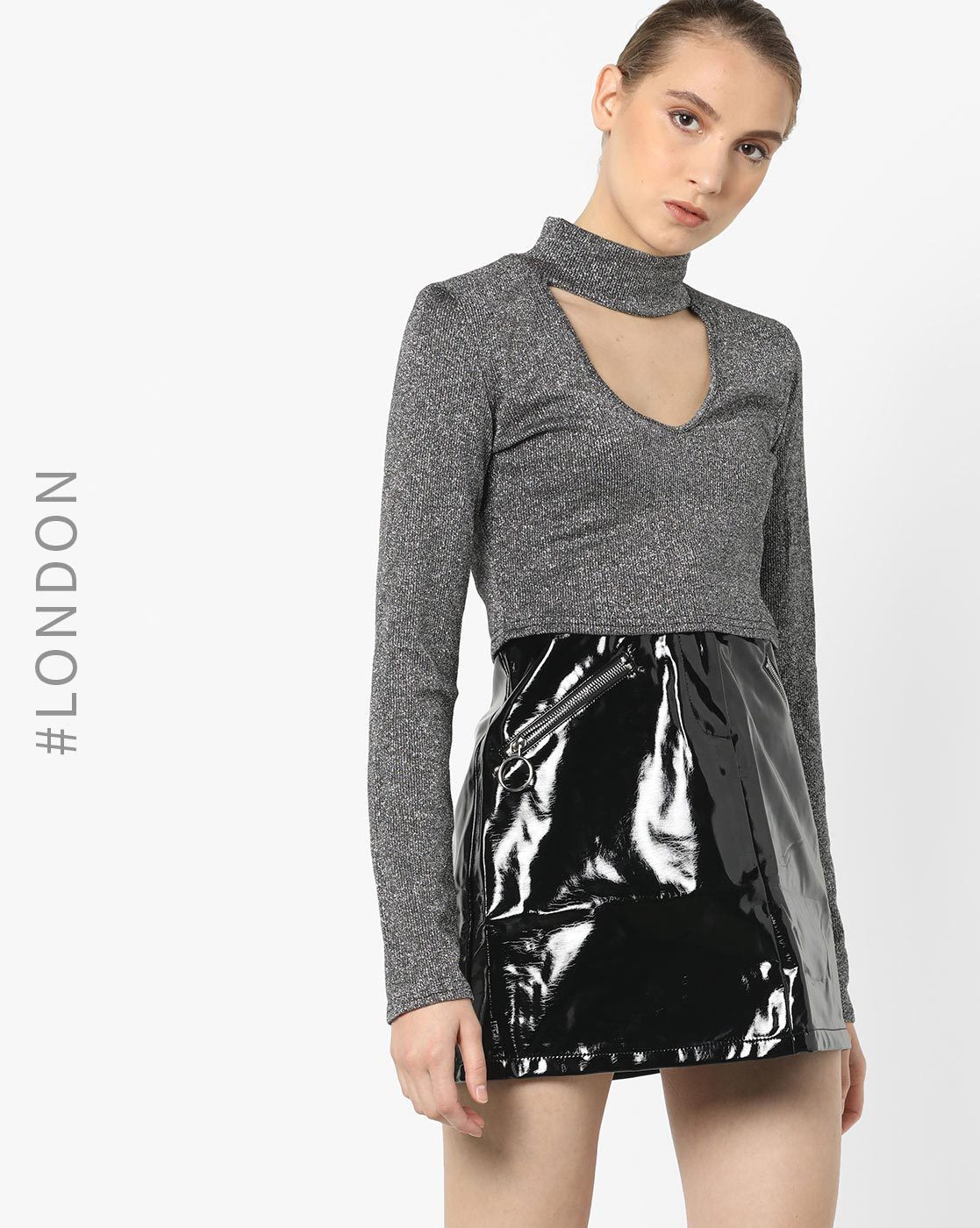 12-types-of-tops-Ribbed-Crop-Top-with-Choker-Neckline