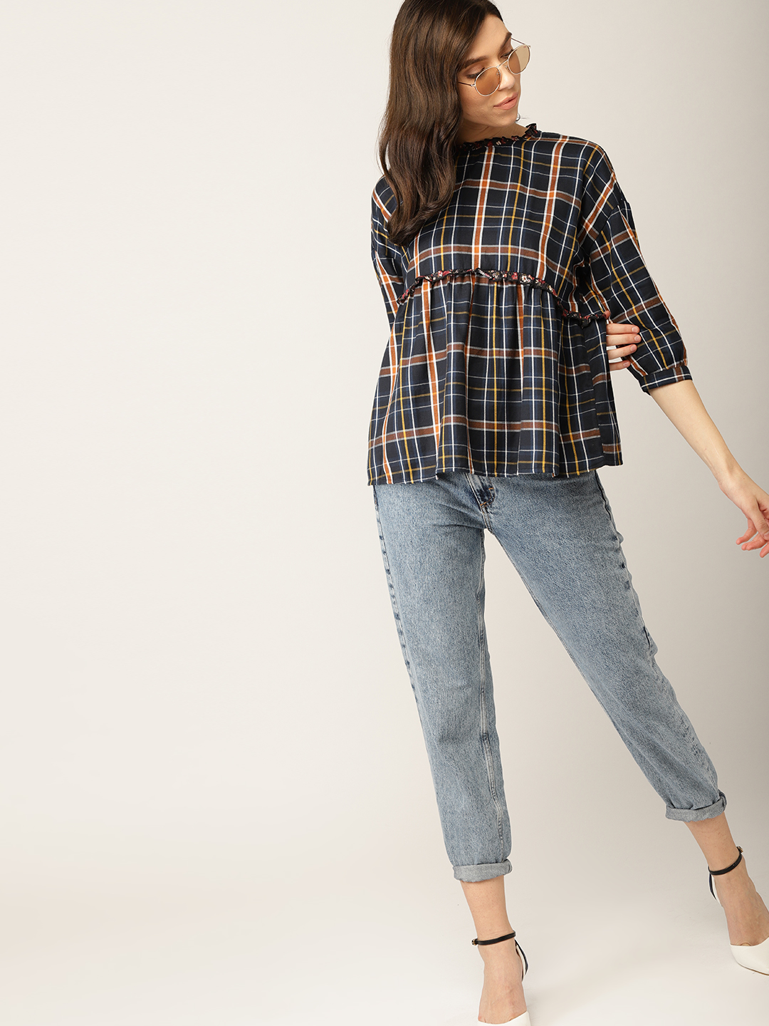 14-types-of-tops-Women-Navy-Brown-Checked-Empire-Top