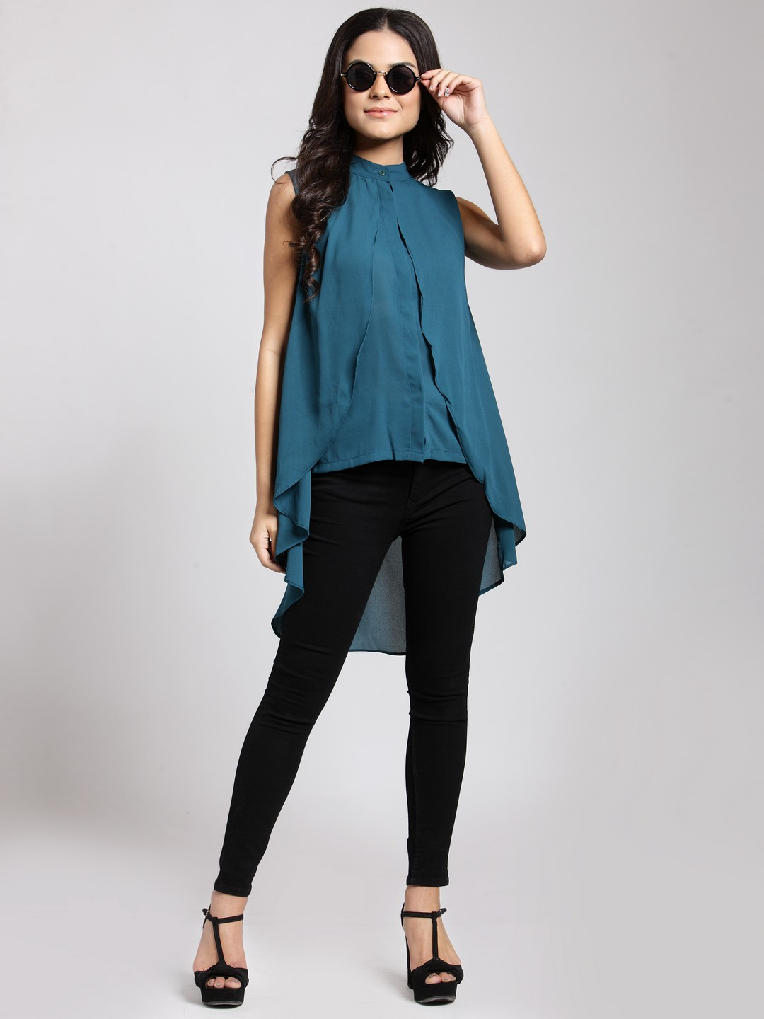 18-types-of-tops-Women-Teal-Solid-High-Low-Top