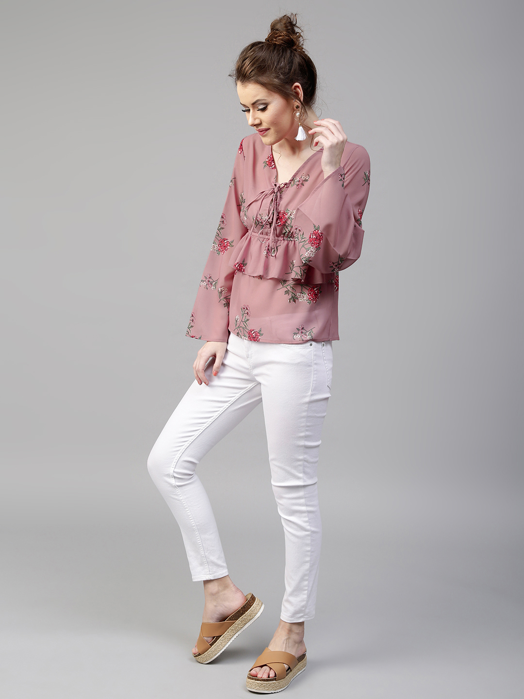 21-types-of-tops-Women-Mauve-Layered-Floral-Print-Top