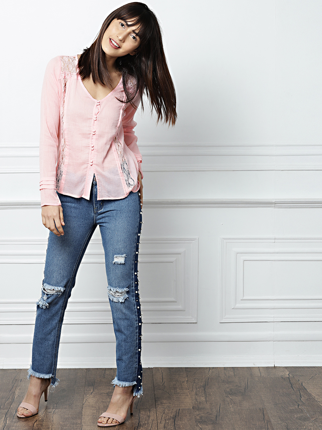 28-types-of-tops-Women-Pink-Solid-Semi-Sheer-Shirt-Style-Top