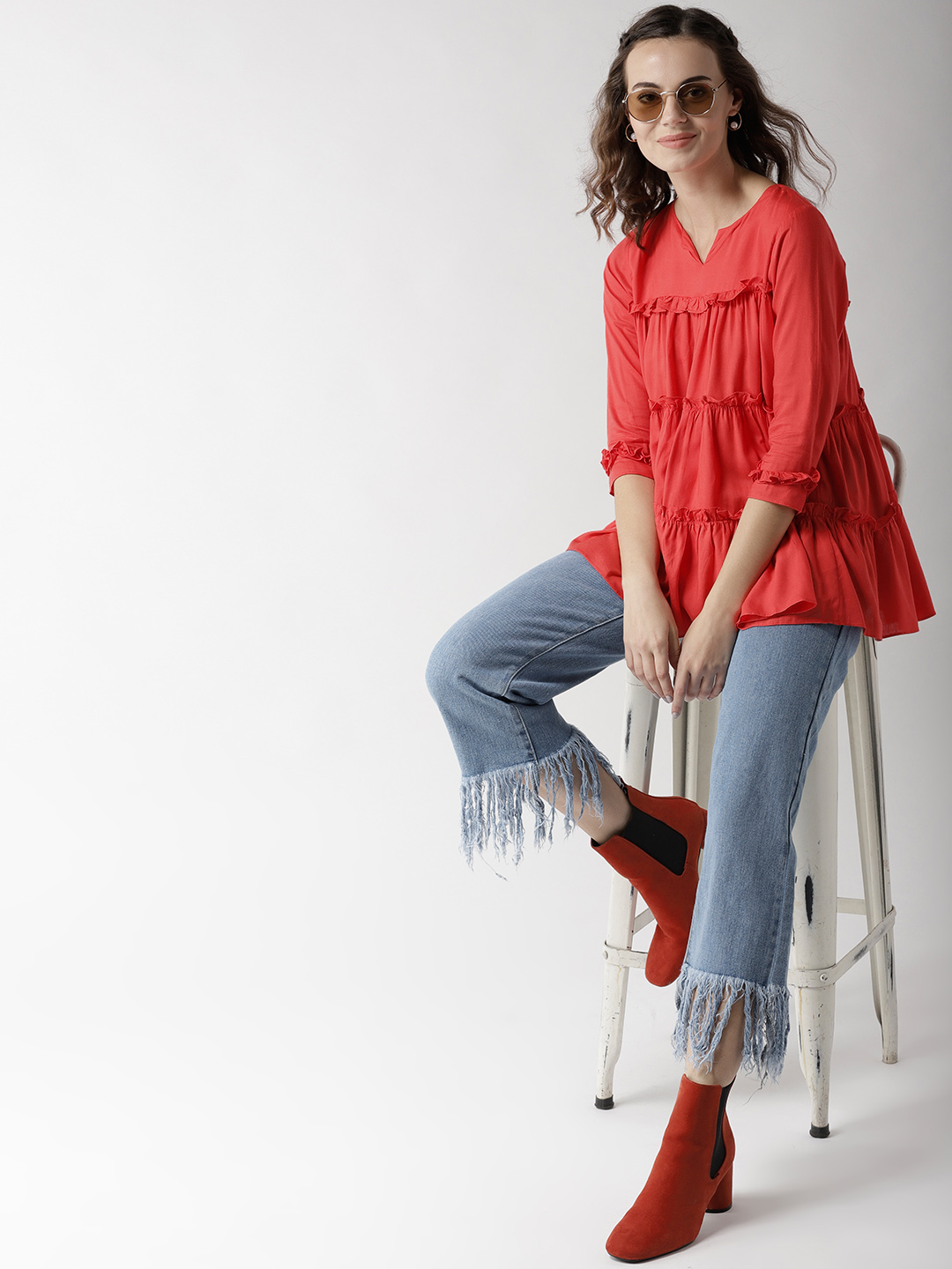 32-types-of-tops-Women-Coral-Red-Solid-Tiered-Top