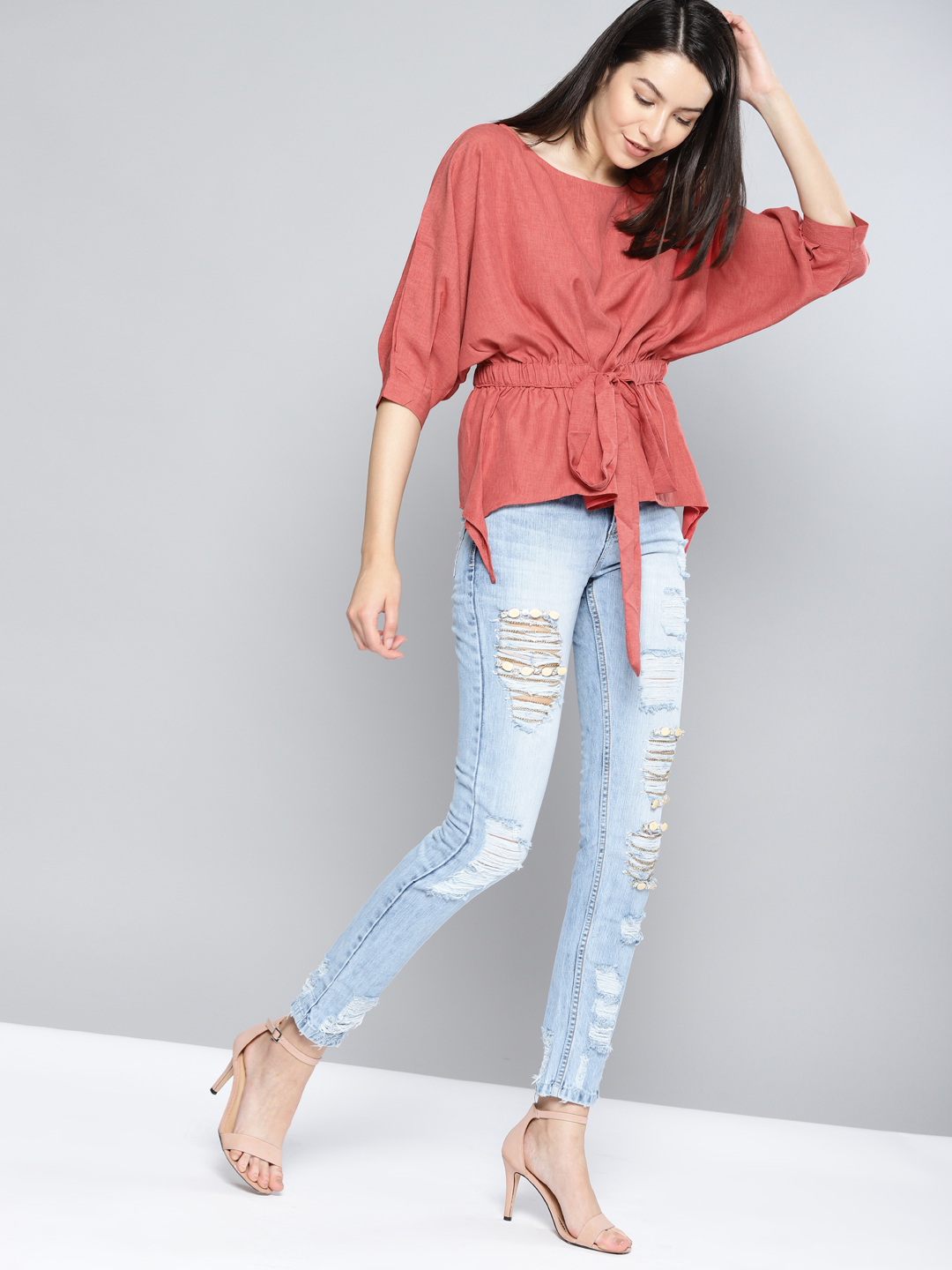 9-types-of-tops-Women-Rust-Red-Solid-Cinched-Waist-Top