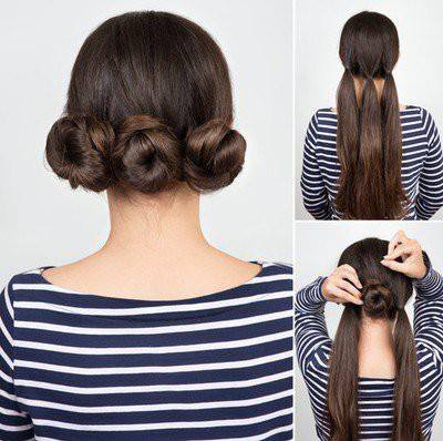 10-hairstyles-for-saree-triple-twisted-bun in marathi