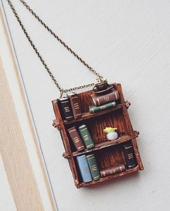 Gifts For Booklovers- bookshelf pendant