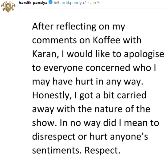 hardik pandya - court case - apology