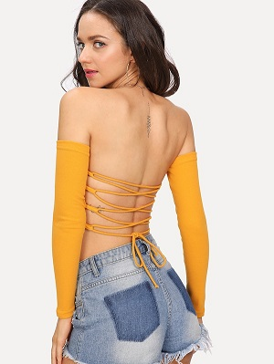 Lace Up Back Crop Tee
