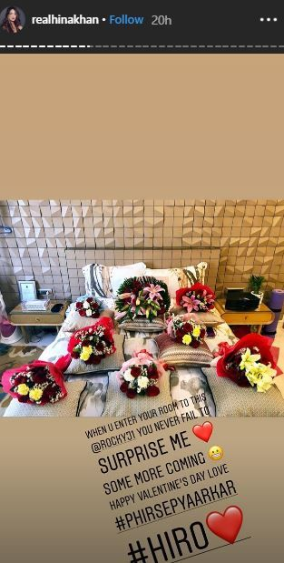 Hina Khan Rocky Jaiswal Valentine's Day- Flowers