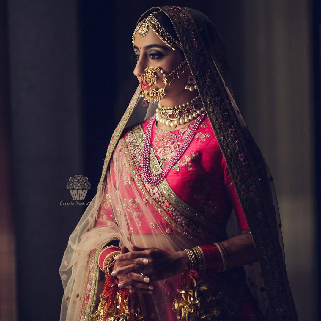 5 red with pink bridal lehenga trends