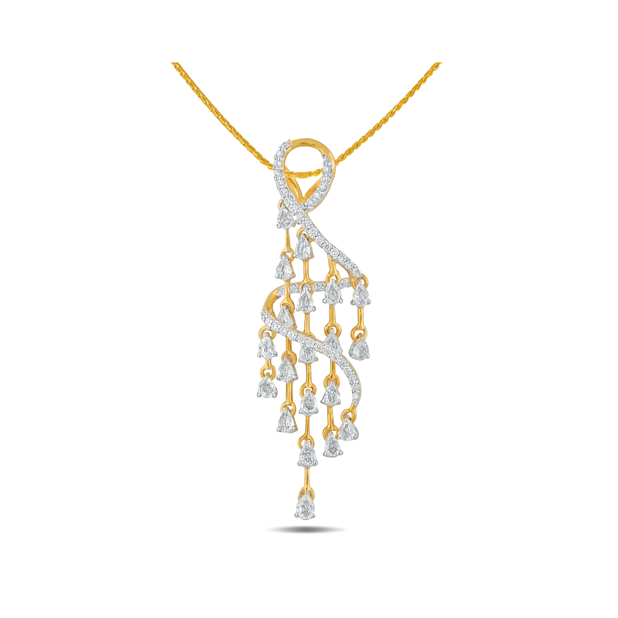Jewellery from Reyna Collection by PNG Jewellers - diamonds engraved white sapphire on each of its steps with the cascade diamond pendant 18 KT gold and 0.28 C