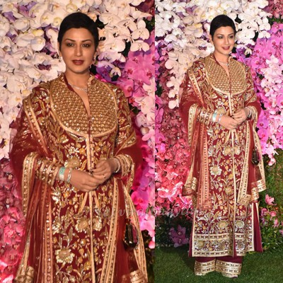 akash ambani shloka mehta wedding function sonali bendre looks