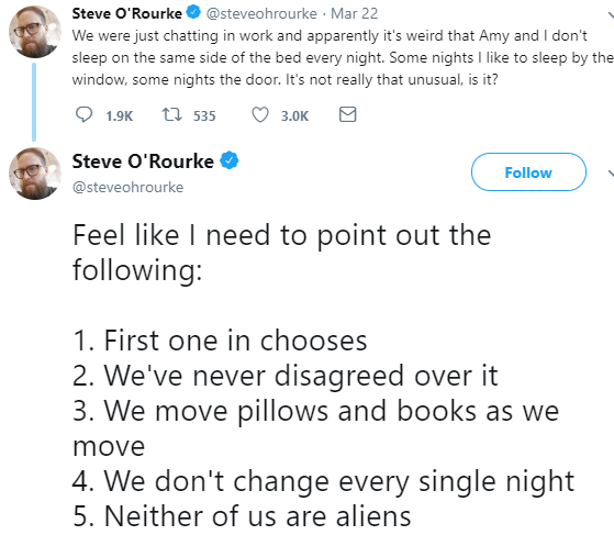 Steve O'Rourke tweet about bed side