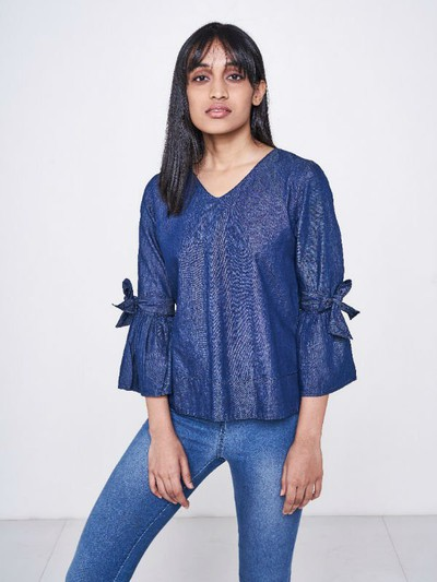 New Denim Top With Tie-Up Details Rs 2299
