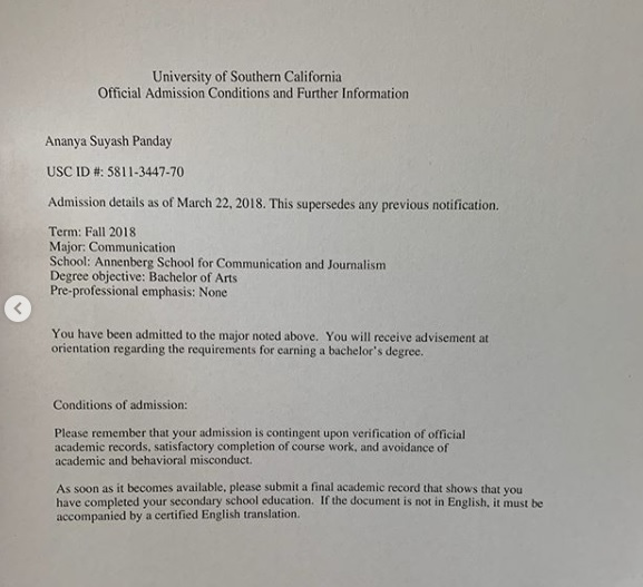 Ananya-pandey-USC-admissions-acceptance-letter