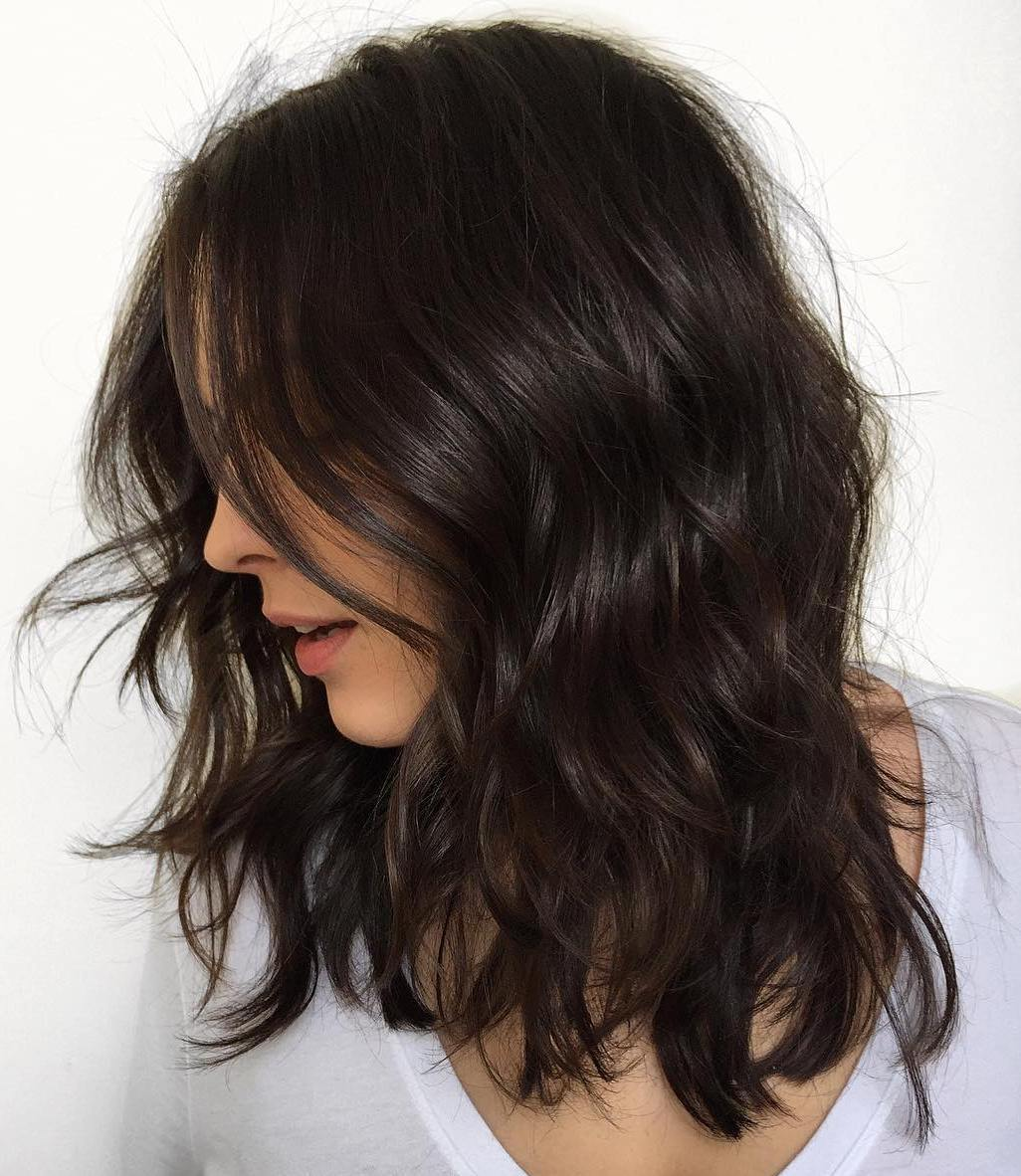 Wavy Brunette Lob Hair Cut