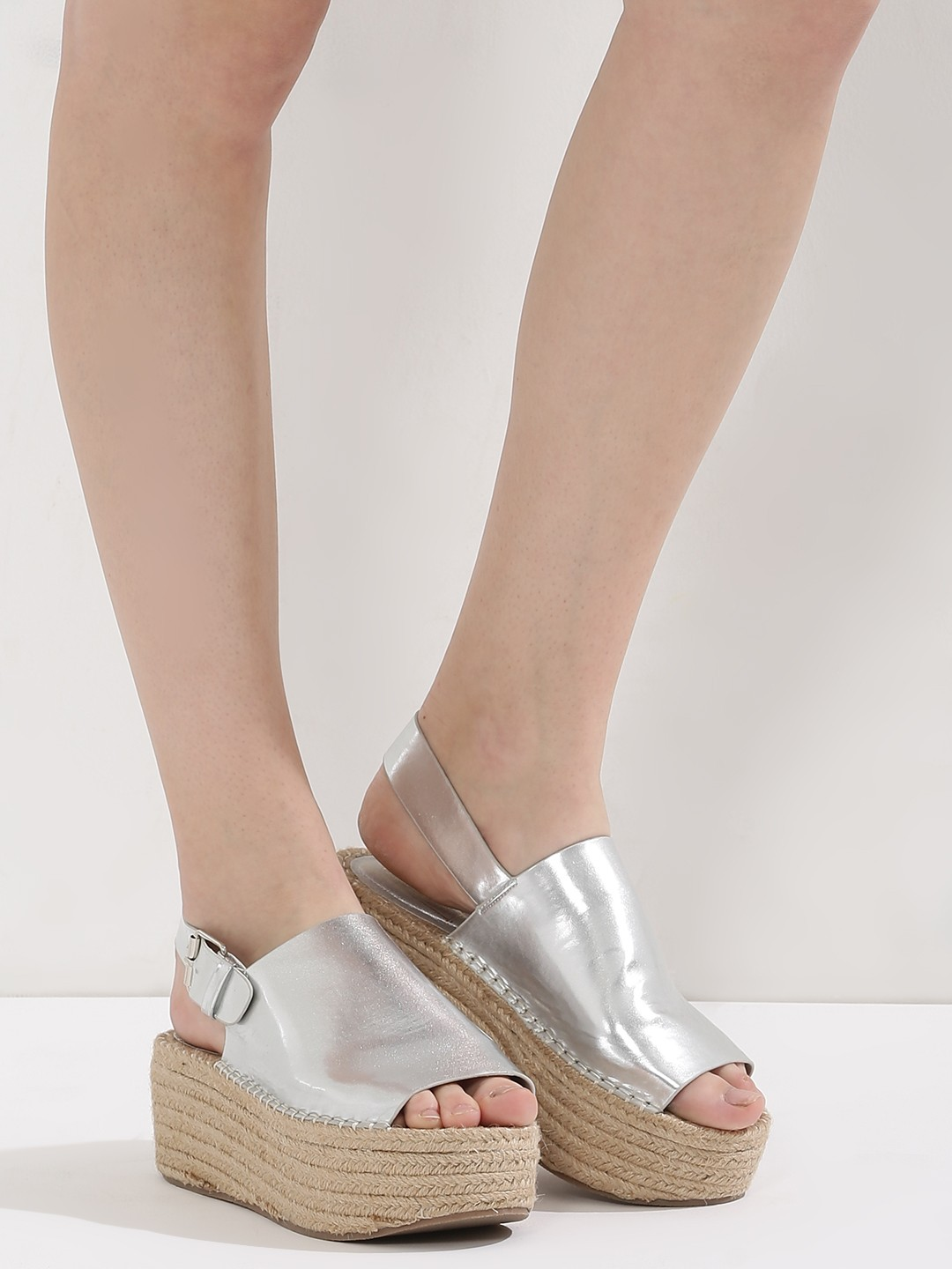 7. types of footwear - Metallic Flatforms With Jute Detail