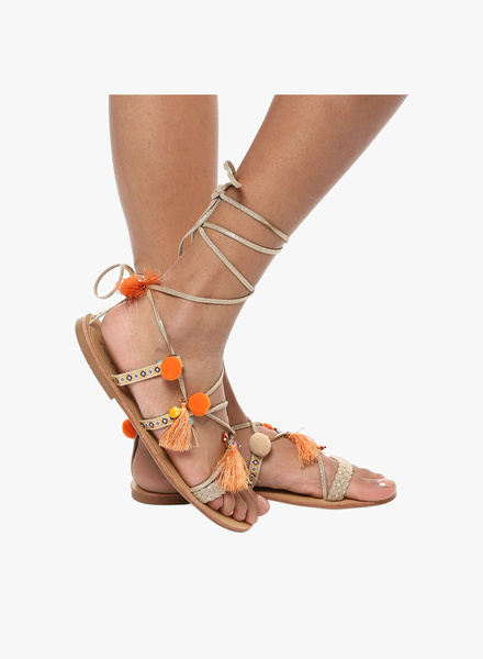 2. types of footwear - Golden Weave Tie Up Sandals