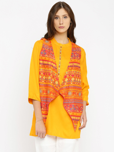 14 fashion essentials for college girls Yellow Red Kurti With Ethnic Jacket