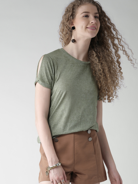 2 fashion essentials for college girls Olive Green Solid Round Neck T-shirt